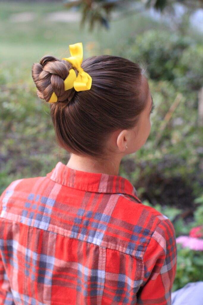 Back side view of the Braided Bun w/Ribbon | Updo Hairstyles