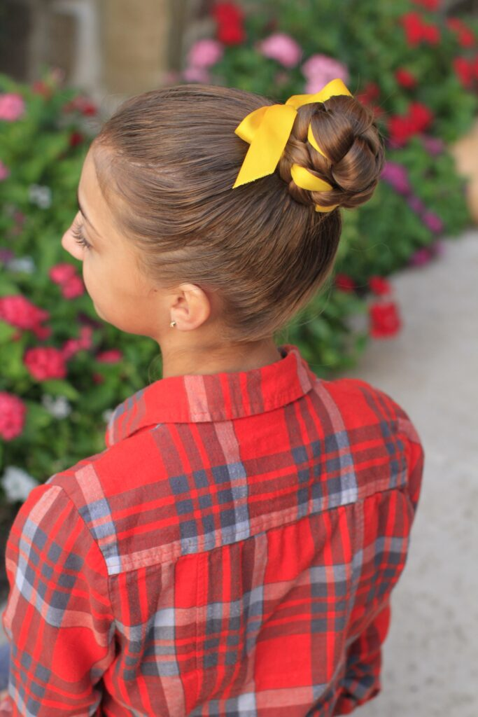 Side view of the Braided Bun w/Ribbon | Updo Hairstyles