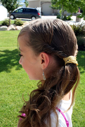 Side view of the Triple Twistback Side Ponytail | Easy Hairstyles