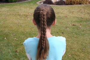 Back view of the Braided-Over Ponytail