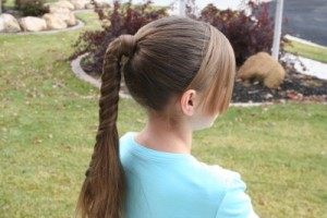 Side view of the Braided-Over Ponytail