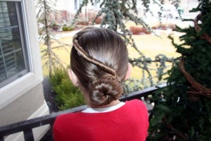 Back view of the Forward Twistback into Bun | Updo Hairstyles