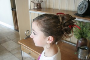 Side view of the Holiday Messy Bun
