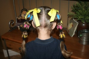 Back view of the Egg Tails hairstyle | Easter Pigtails