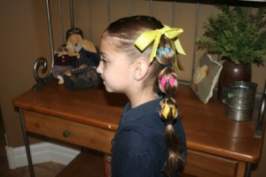Side view of the Egg Tails hairstyle | Easter Pigtails