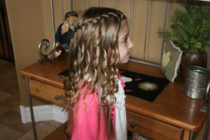 Waterfall Braid Hairstyle with Spiral Curls (Right)