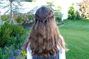 Back view of the Double Waterfall Braid Hairstyles