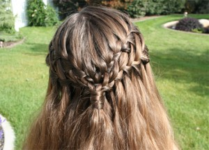 Back close-up view of the Double Waterfall Braid Hairstyle
