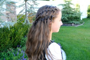 Side view of the Double Waterfall Braid Hairstyle