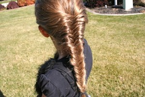 Back side view of the Fishtail {Herringbone} French Braid