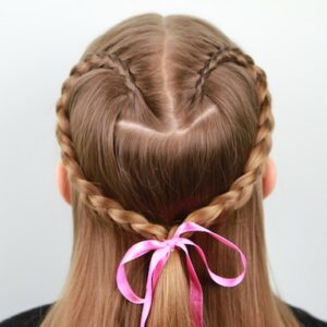 Back view of the Lace Braid Heart | Valentine's Day Hairstyles