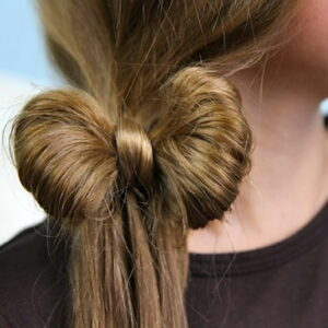 Close-up view of the Side Ponytail Hair Bow | Cute Hairstyles
