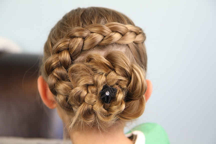 Dutch Braided Flower Updo Hairstyles