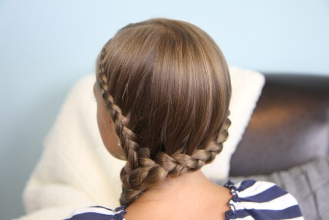 Back view of Double Lace Braid into Side Braid | Rihanna Hairstyles