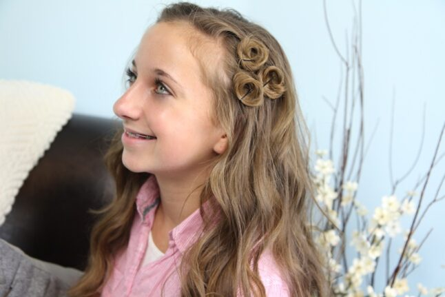 Side view of a young girl with Pin Curl Accents | Easy Hairstyle Ideas