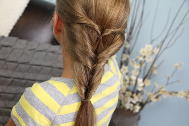Back view of the Quadruple-Flipped Ponytail #2   Easy Hairstyles