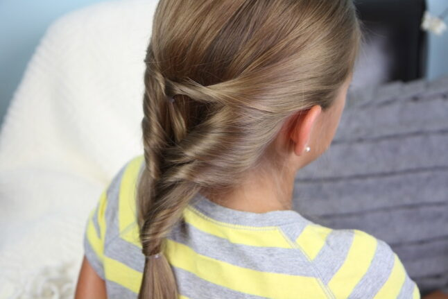 Back side view of the Quadruple-Flipped Ponytail #2   Easy Hairstyles