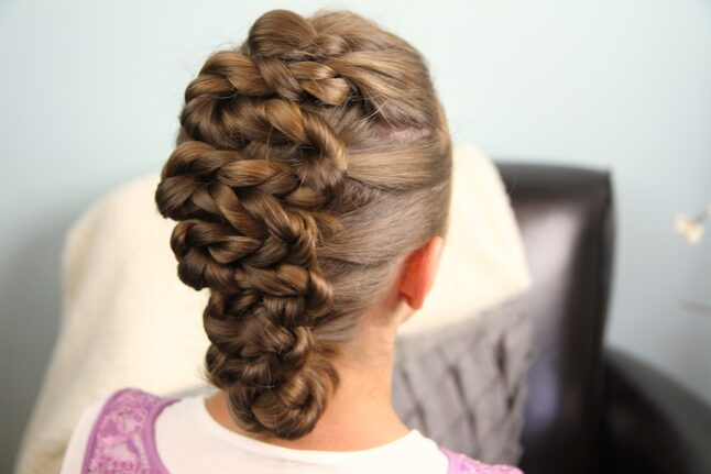 Back side view of Twisted Zig-Zag Updo Hairstyle | Cute Girls Hairstyles