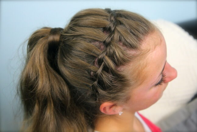 Top view of the Waterfall Braided Headband into Hair-Wrapped Ponytail
