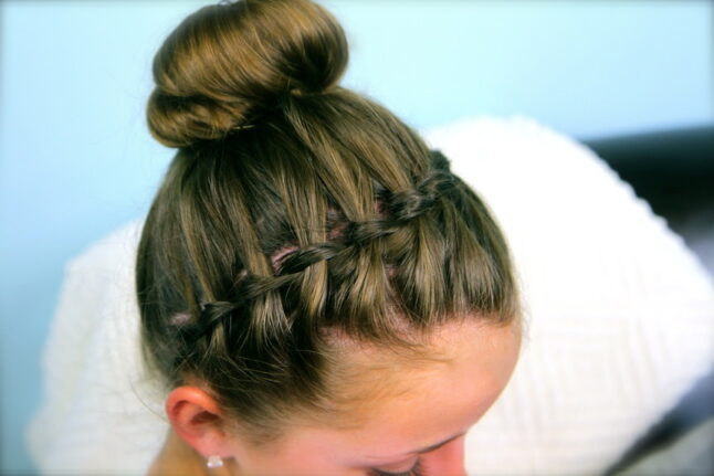 Top side view of the Waterfall Braided Headband into a Bun with Accent Braid.