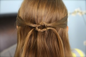 Back close-up view of Pullbacks into Square Knot | Hairstyles for Long Hair