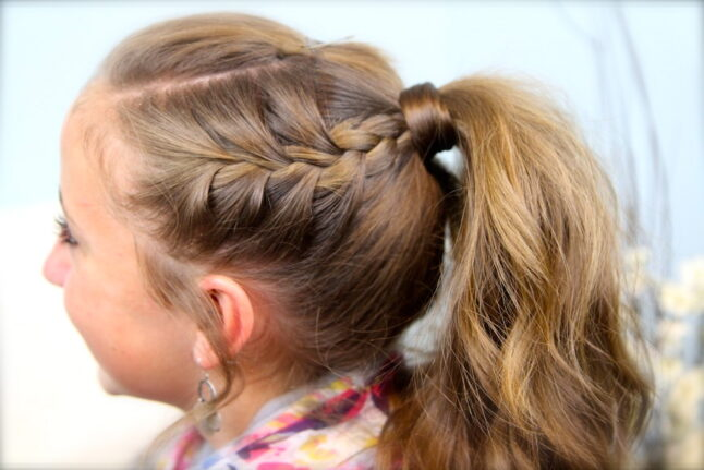 Side view of Double-Frenchbacks into High Pony   Cute Ponytail Ideas