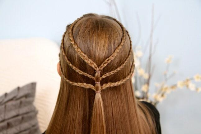Back view of Triple-Braided Tieback   Bohemian Hairstyles