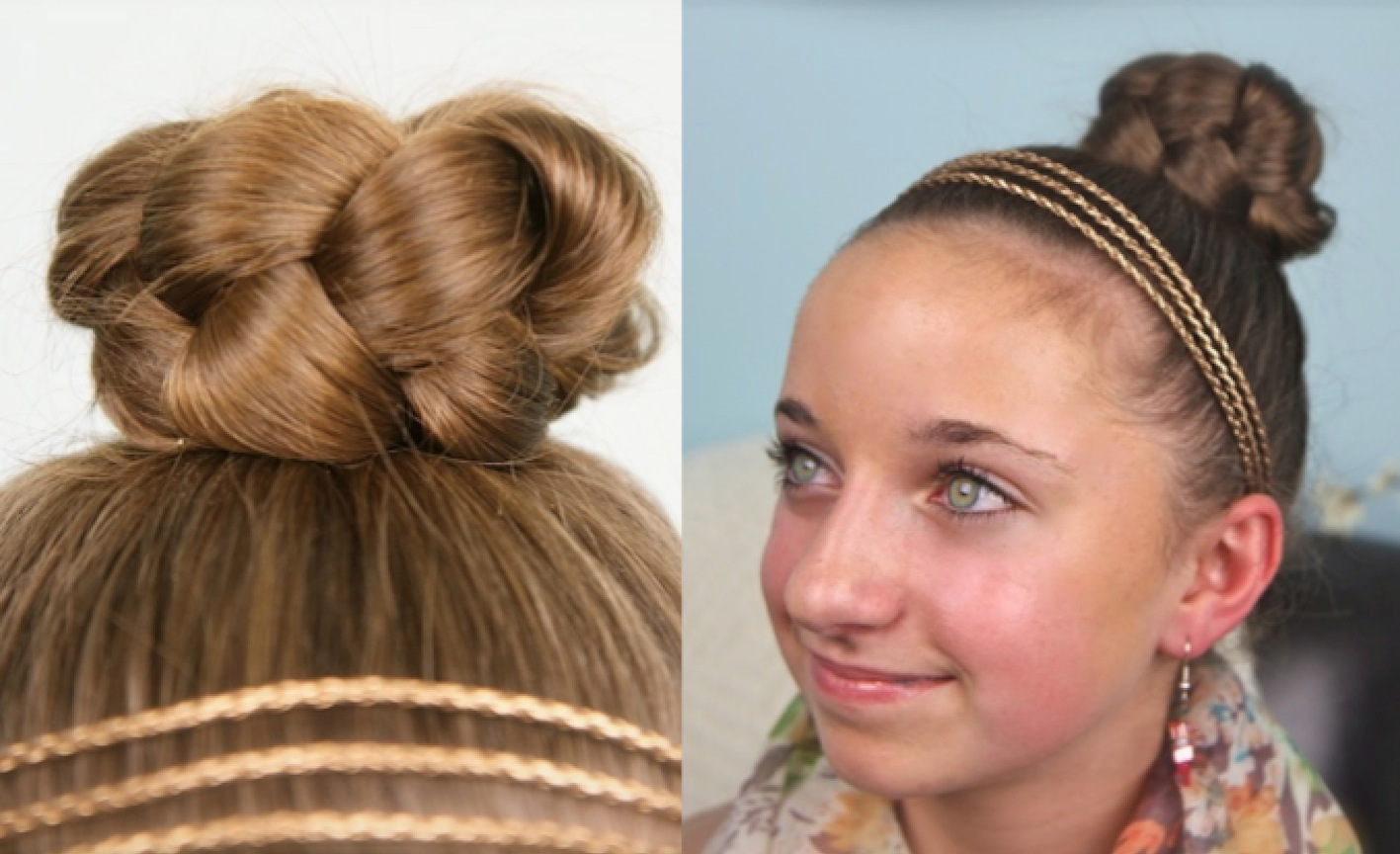 This simple braided bun is a cute, quick style designed for young ...