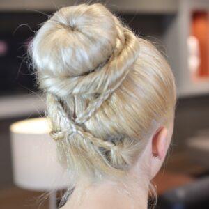 Back view of Cross Braid Sock Bun | Updo Hairstyles