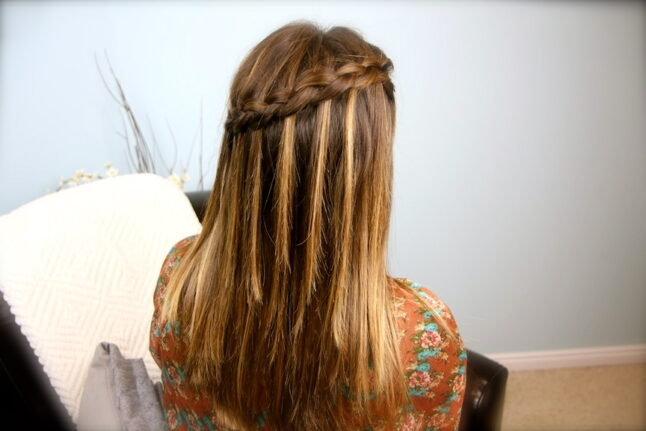 Back view of DIY Dutch Waterfall Braid | Popular Hairstyles