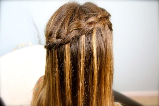 Side view of DIY Dutch Waterfall Braid | Popular Hairstyles