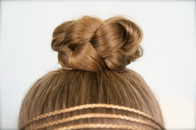 Close-up view of Simple Braided Bun Hairstyle