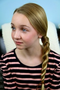 Portrait of a young blonde girl modeling Hair-Wrapped Rope Braid {Plait} | Easy Hairstyles