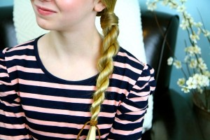 Close-up view of Hair-Wrapped Rope Braid {Plait} | Easy Hairstyles