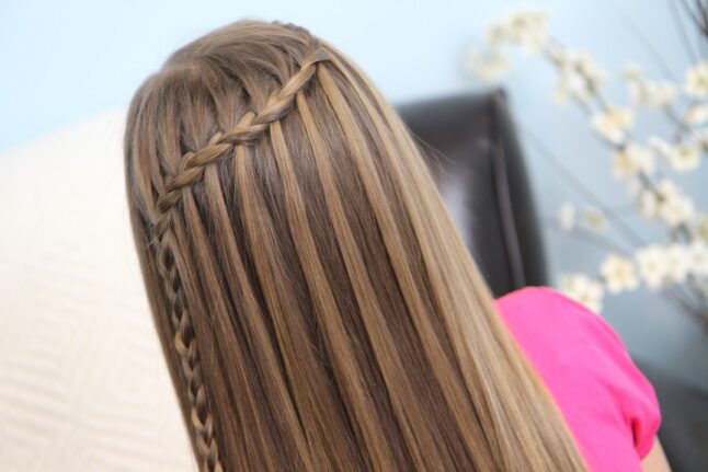 Back view of Feather Waterfall | Cute Girls Hairstyles
