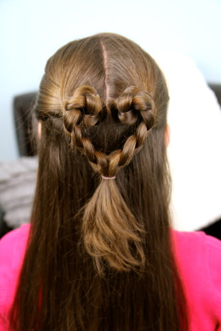 Close-up back view of Twist-Braided Heart | Valentine's Day Hairstyles