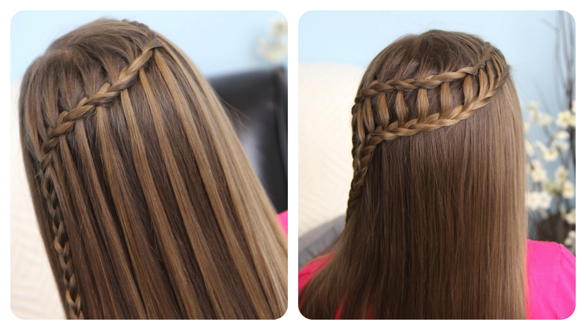 Feather Waterfall Braid and Ladder Braid Combo | Cute Hairstyles