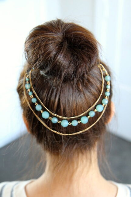 Teased High Bun Hair Jewelry   Updo Hairstyles   Prom