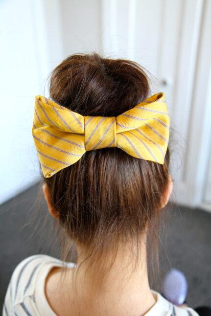 Teased High Bun Hair Bow   Updo Hairstyles   Prom