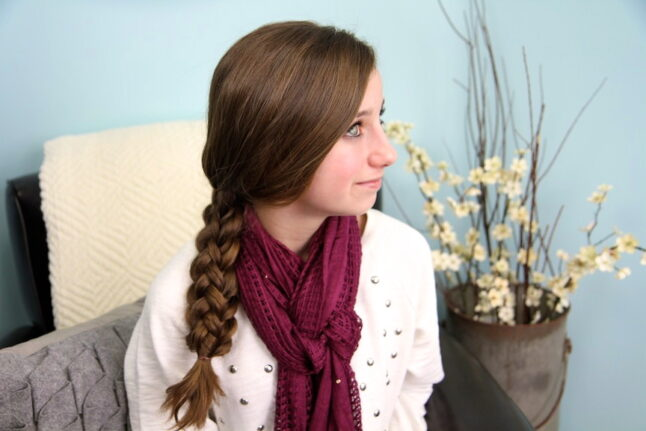 Portrait view of a young girl modeling Stacked Braids | Braid Hairstyles