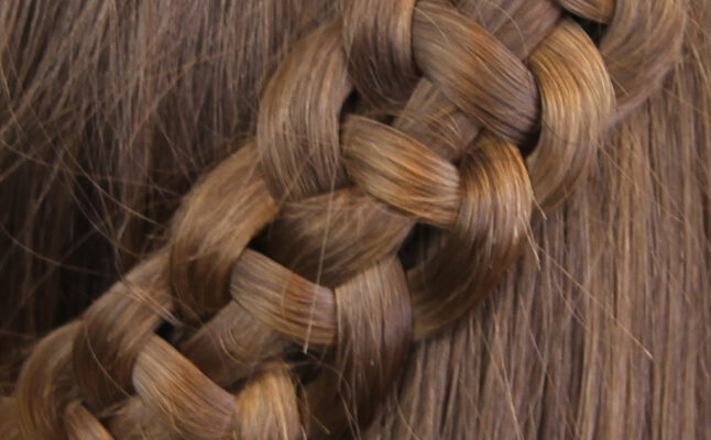 Close-up view of 4-Strand Slide Up Braid   Cute Girls Hairstyles