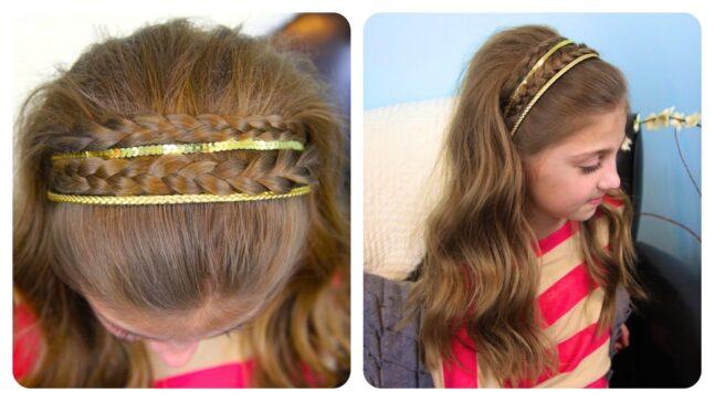 Double Braided Sparkle Headband | Cute Girls Hairstyle