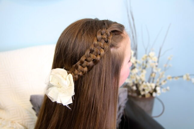 Back view of 4-Strand Slide Up Braid   Cute Girls Hairstyles