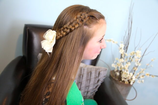 Side view of 4-Strand Slide Up Braid   Cute Girls Hairstyles