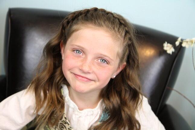 Portrait of a little girl modeling Lace Braid Headband | Cute Girls Hairstyles