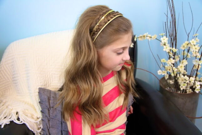 Side view of Double Braided Sparkle Headband | Braid Hairstyles