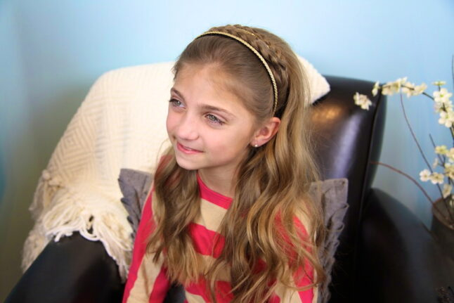 Portrait of a young girl modeling the Double Braided with Sparkle Headband