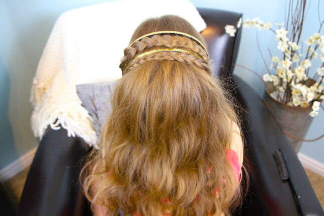 Top back view of Double Braided Sparkle Headband