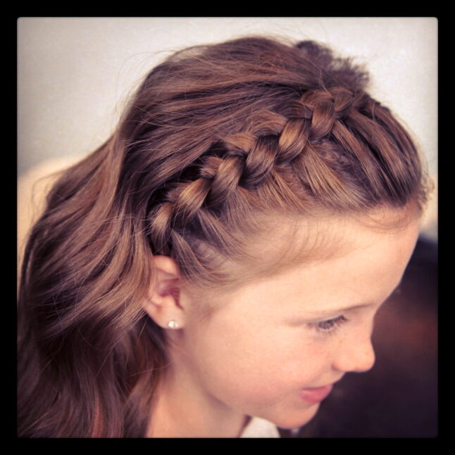 Top view of Lace Braid Headband | Cute Girls Hairstyles