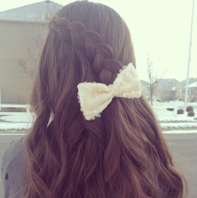 Back view of Pancake Lace Braid | Long Hairstyles